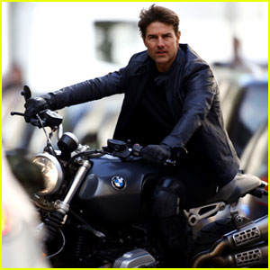 Tom Cruise Films Scenes on a Motorcycle for 'Mission Impossible 6'