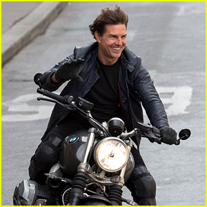Tom Cruise Is All Smiles On His Mission Impossible Motorcycle