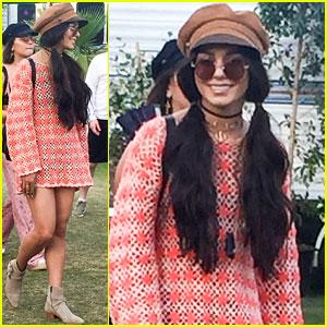 Vanessa Hudgens Rocks a Mini-Dress for Coachella Day 3