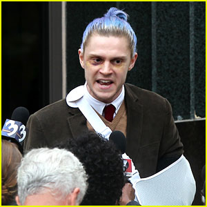 'American Horror Story' Set Photos: Evan Peters Sports Blue Hair & Bruises for Season 7