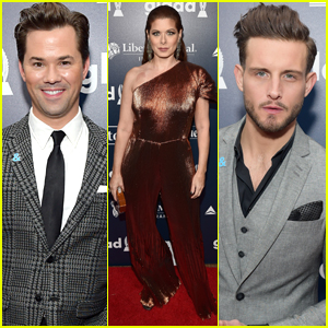 Andrew Rannells, Debra Messing, & More Arrive In Style for the GLAAD Awards