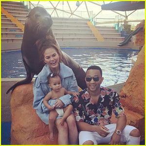 Chrissy Teigen, John Legend, & Daughter Luna Visit Seaquarium Before His Tour Starts