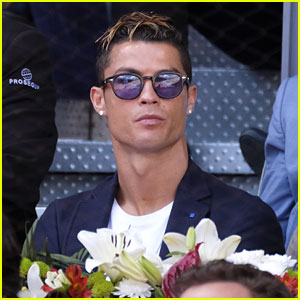 Cristiano Ronaldo Poses Shirtless Before Supporting Rafael Nadal at Madrid Open