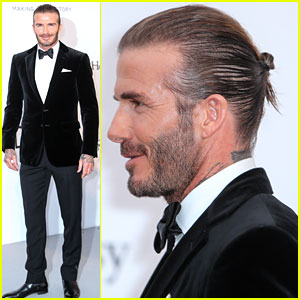 David Beckham Pulls His Hair Back For AmfAR Cannes Gala - Latest hairstyle of beckham