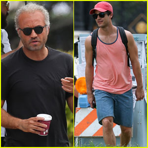 Edgar Ramirez Debuts Bleached Blonde Versace Hair on 'American Crime Story' Set With Darren Criss