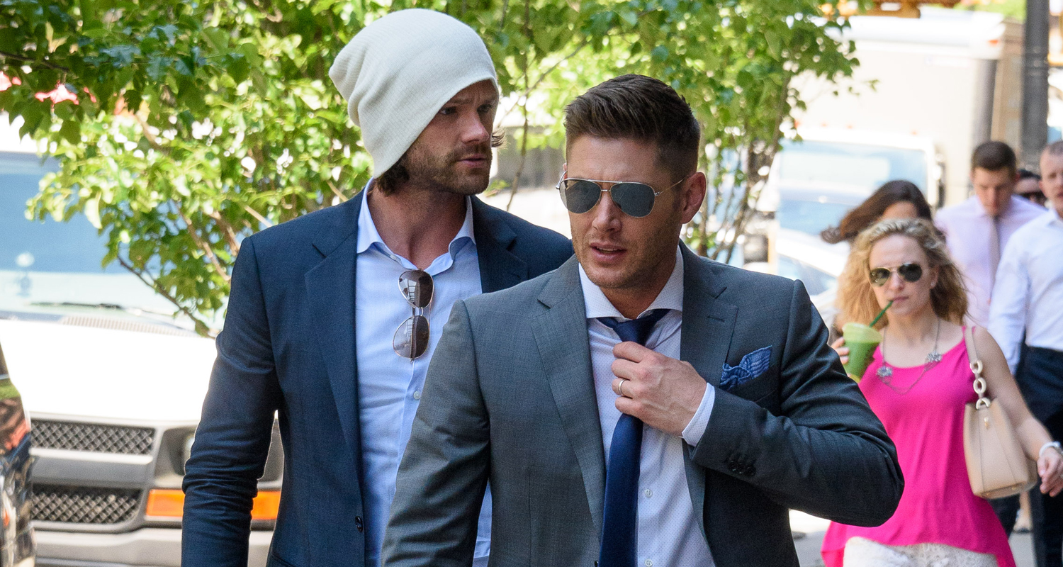 jared padalecki  u0026 jensen ackles hang in nyc after cw upfronts