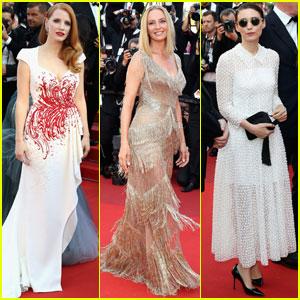 Jessica Chastain & Uma Thurman Close Out Cannes 2017