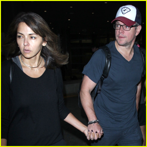 Matt Damon & Luciana Barroso Return Home From Monaco Vacation