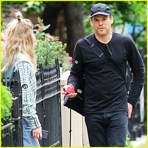 Michael C. Hall & Wife Morgan Enjoy Fresh Air With Their Pup