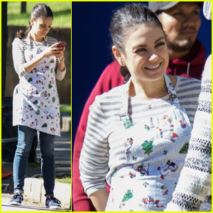 Mila Kunis Wears an Apron While Filming 'Bad Moms' Sequel