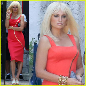 Penelope Cruz is a Blonde Bombshell in Red For 'Versace'