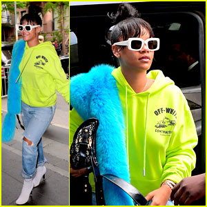 Rihanna Wears Neon Green Sweatshirt & Bright Blue Fur Stole Before the Met Gala
