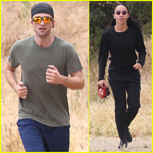 Robert Pattinson & FKA Twigs Take Their Dog for a Hike