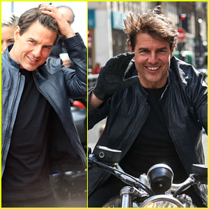 Tom Cruise Fixes His Hair After Filming 'Mission: Impossible 6' Motorcycle Scenes