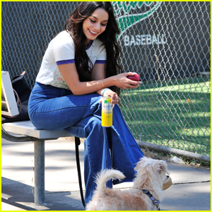 Vanessa Hudgens Hits the Beach With Pup Darla & Friends!