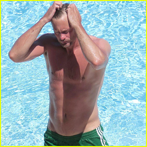 Alexander Skarsgard Hits the Pool in Short Shorts!
