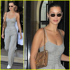Bella Hadid Sports Corset Jumpsuit While Out & About in Paris