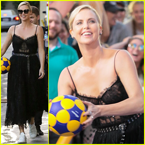 Charlize Theron Shoots Hoops with a Soccer Ball on 'Kimmel'