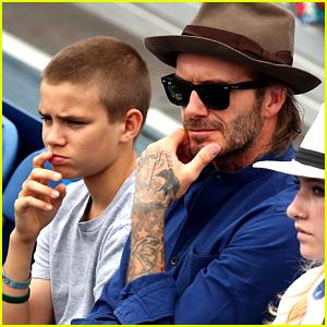 David Beckham Watches a Tennis Match with Son Romeo!