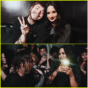 Demi Lovato Takes on DJ Duties with Post Malone at Emo Nite!