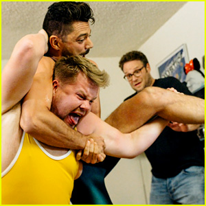 Dominic Cooper Wrestles James Corden in a Fan's Apartment!