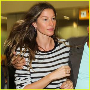 Gisele Bundchen Looks Pretty in Stripes as She Lands in Brazil