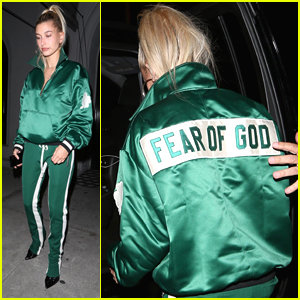 Hailey Baldwin Wears Bold Green Tracksuit Out to Dinner in LA