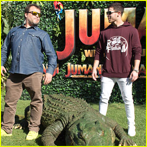 Jack Black & Nick Jonas Face Off During 'Jumanji' Promo Event
