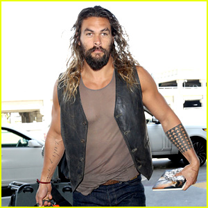 Jason Momoa Bares His Buff Biceps at the Airport