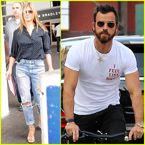 Jennifer Aniston Arrives in LA While Justin Theroux Cruises Through NYC