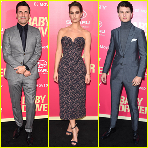 Jon Hamm, Lily James, & Ansel Elgort Premiere 'Baby Driver'
