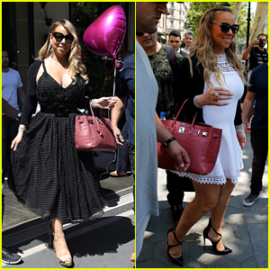 Mariah Carey Holds Pink Heart Balloon in the City of Love
