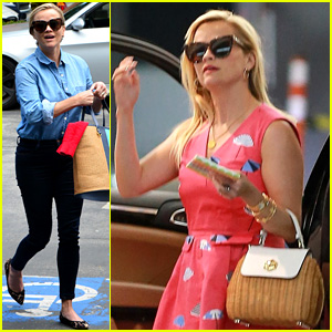 Reese Witherspoon Wears Umbrellas on Her Dress at Lunch