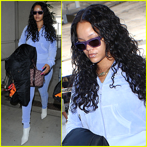 Rihanna is Pretty in Purple Velour Tracksuit at LAX Airport