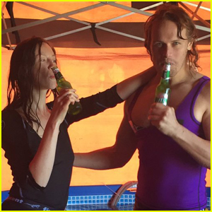 Sam Heughan & Caitriona Balfe Cheers to 'Outlander' Season Three Wrap