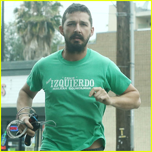 Shia LaBeouf Runs Into the Gym for His Workout