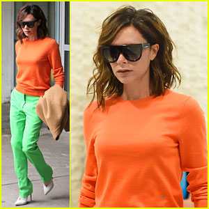 Victoria Beckham Slays in Bright Orange & Lime Green (Yes, You Read That Correctly)