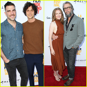 Zachary Quinto & Miles McMillan Couple Up At 'Never Here' Premiere!