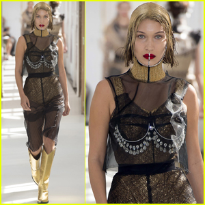 Bella Hadid Gets Metallic For 'Maison Margiela' Fashion Show