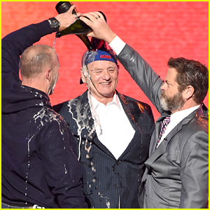 Bill Murray Gets Champagne Poured on Him by Nick Offerman & David Ross at ESPYS 2017! (VIDEO)