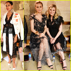 Brie Larson & Kirsten Dunst Buddy Up At Rodarte's Paris Show!