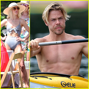 Derek Hough Goes Shirtless While Paddling at Julianne's Wedding Rehearsal Party!