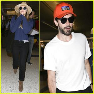 Elizabeth Olsen & Robbie Arnett Make a Casual Arrival at LAX