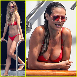 Heidi Klum Wears a Teeny Red Bikini While Vacationing in France