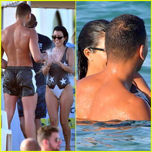 Kourtney Kardashian & Boyfriend Younes Bendjima Flaunt PDA at Beach in St. Tropez