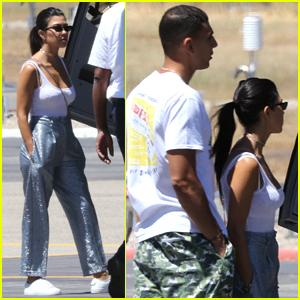Kourtney Kardashian & Boyfriend Younes Bendjima Hop on a Helicopter in France
