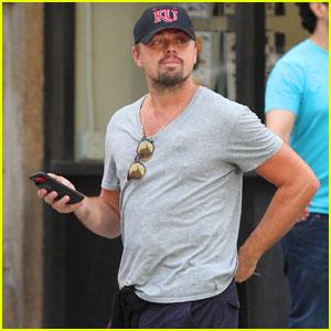 Leonardo DiCaprio Sports Kansas Jayhawks Hats in NYC