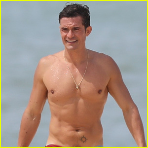 Orlando Bloom Goes Shirtless in Low-Riding Trunks at the Beach