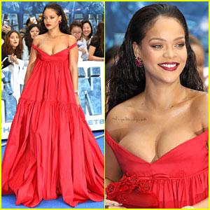 Rihanna Rocks Flowing Red Dress for 'Valerian' European Premiere!