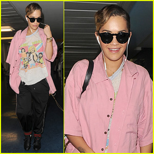 Rita Ora is Retro Chic While Landing in London for Rehearsals